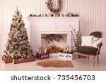 christmas decor of a bright...   Shutterstock . vector #735456703