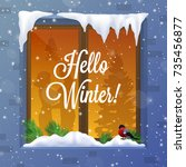 winter and snow with window... | Shutterstock .eps vector #735456877