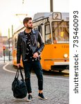 a handsome young hipster man... | Shutterstock . vector #735460093