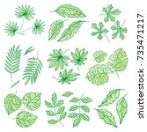 different tropical leaves... | Shutterstock .eps vector #735471217