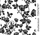 Stock vector rose seamless pattern black and white seamless pattern with flowers roses and leaves 735476797