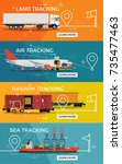 set of transportation banner... | Shutterstock .eps vector #735477463