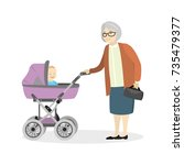 grandmother with a pram and...   Shutterstock .eps vector #735479377