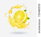 lemon fruit juice splash... | Shutterstock .eps vector #735480553