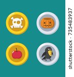 a set of halloween coins with ... | Shutterstock .eps vector #735483937