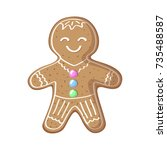 gingerbread man vector... | Shutterstock .eps vector #735488587