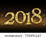 happy new year 2018 with... | Shutterstock .eps vector #735491167