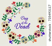 day of the dead card or... | Shutterstock .eps vector #735493117