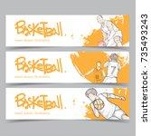 sport banner set. hand drawn...   Shutterstock .eps vector #735493243