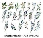decorative watercolor leaves... | Shutterstock . vector #735496093