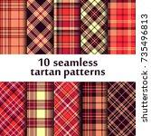 set of seamless tartan pattern | Shutterstock .eps vector #735496813