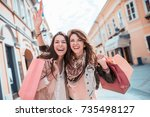 friends having fun in the city... | Shutterstock . vector #735498127