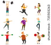 sports people in the flat style.... | Shutterstock .eps vector #735503263