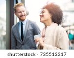 casual meeting outside on a... | Shutterstock . vector #735513217