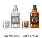 whiskey glass with ice cubes... | Shutterstock .eps vector #735517663