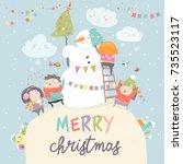 happy children celebrating... | Shutterstock .eps vector #735523117