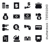 16 vector icon set   coin stack ... | Shutterstock .eps vector #735531043