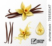 realistic vector set of... | Shutterstock .eps vector #735535147