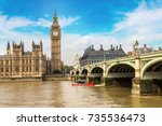 the big ben  the houses of... | Shutterstock . vector #735536473