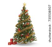 christmas tree isolated  3d... | Shutterstock . vector #735538507