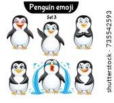 vector set of cute penguin... | Shutterstock .eps vector #735542593