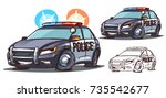 cartoon police car character... | Shutterstock .eps vector #735542677