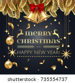 merry christmas and happy new...   Shutterstock .eps vector #735554737
