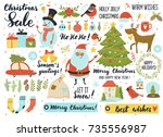 christmas and new year's set ...   Shutterstock .eps vector #735556987