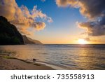 sunset of the na pali coast... | Shutterstock . vector #735558913