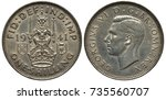 Small photo of Great Britain British silver coin 1 one shilling 1941, WWII issue, Scottish type, lion on crown holding sword and scepter, two small shields flank, head of King George VI left