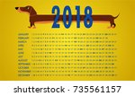 year of the dog 2018 calendar ... | Shutterstock .eps vector #735561157