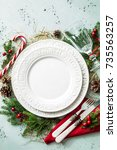 elegant christmas table setting ... | Shutterstock . vector #735563257