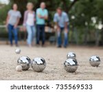 males and females playing... | Shutterstock . vector #735569533