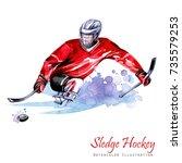 watercolor illustration. sledge ... | Shutterstock . vector #735579253