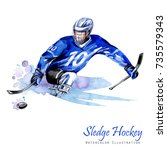 watercolor illustration. sledge ... | Shutterstock . vector #735579343