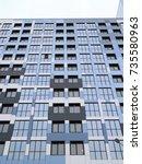 construction of apartment... | Shutterstock . vector #735580963