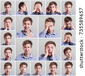 young man emotional faces ... | Shutterstock . vector #735589657