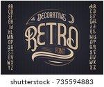 vector retro typeface. vector... | Shutterstock .eps vector #735594883
