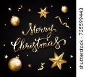 golden text on black background.... | Shutterstock .eps vector #735599443