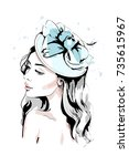 beautiful young woman in hat.... | Shutterstock .eps vector #735615967