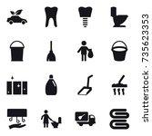 16 vector icon set   eco car ...   Shutterstock .eps vector #735623353