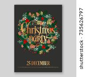 christmas party wreath... | Shutterstock .eps vector #735626797