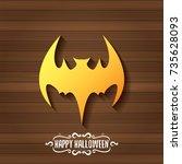 vector halloween golden bat... | Shutterstock .eps vector #735628093