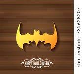 vector halloween golden bat... | Shutterstock .eps vector #735628207
