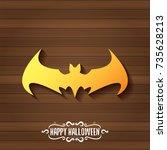 vector halloween golden bat... | Shutterstock .eps vector #735628213