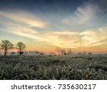 dramatic colorful countryside... | Shutterstock . vector #735630217