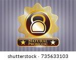 gold badge with kettlebell... | Shutterstock .eps vector #735633103