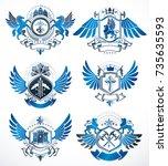 collection of vector heraldic... | Shutterstock .eps vector #735635593