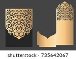 laser cut pocket envelope... | Shutterstock .eps vector #735642067