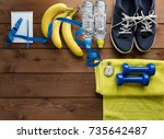 fitness concept with sneakers...   Shutterstock . vector #735642487